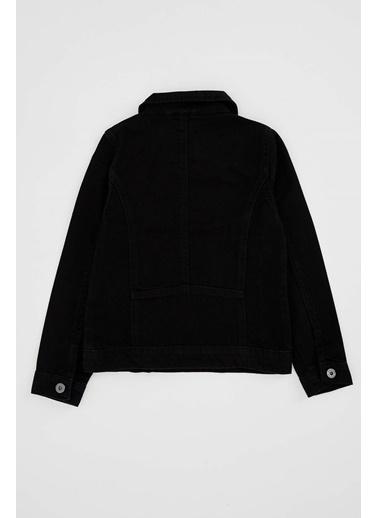 DeFacto Kız Çocuk Fermuarlı Jean Ceket Siyah